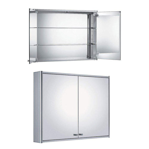 Whitehaus Double Two Sided Mirrored Door Medicine Cabinet WHCAR-48 - SaunaTown.com