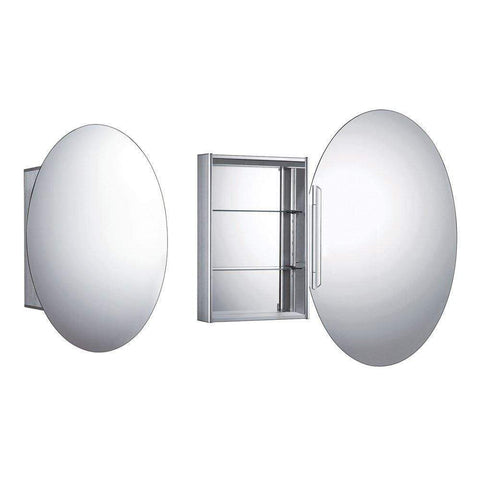 Whitehaus Oval Double Faced Mirrored Door Medicine Cabinet WHOLI - SaunaTown.com