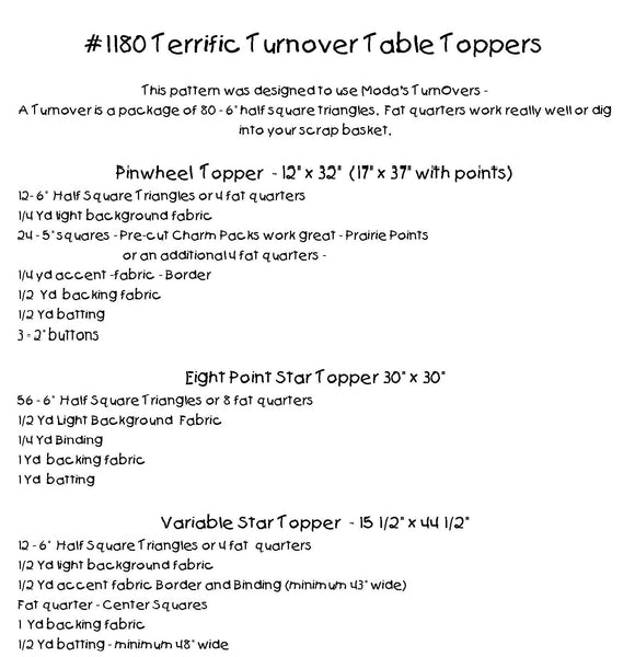 Terrific Turnover Table Toppers