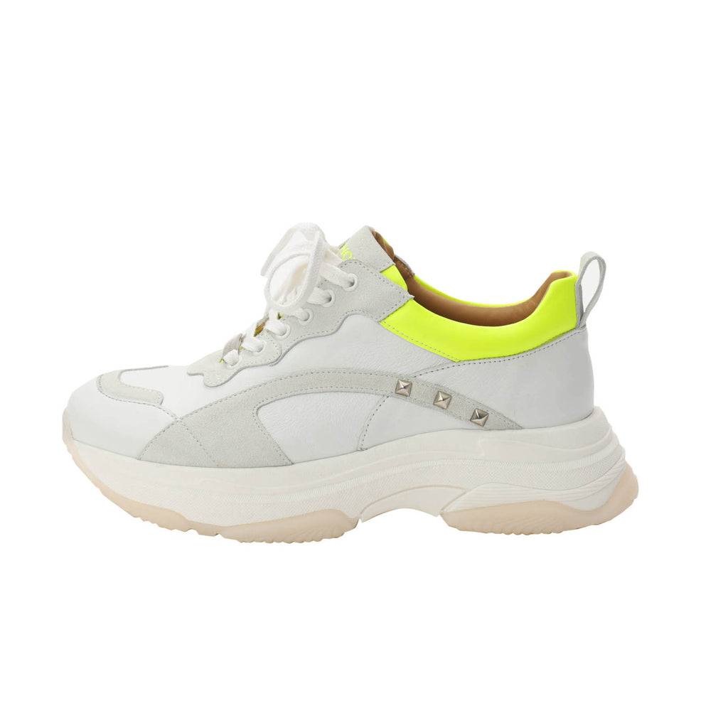 Kunoka Ugly - white fluo yellow stud Sneaker white