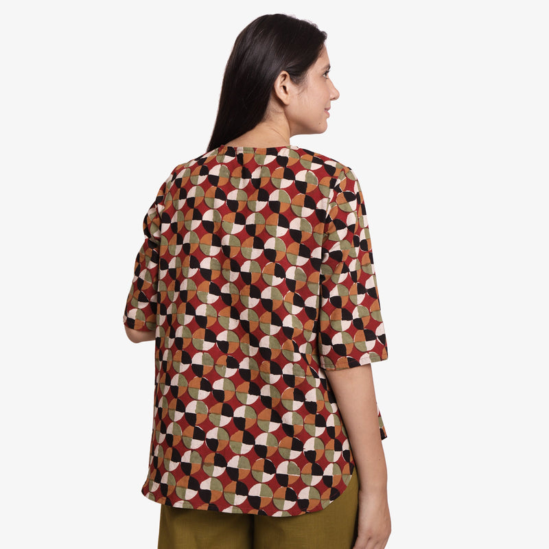 Back View of a Model wearing 3-Side Bagru Button-Down Shirt