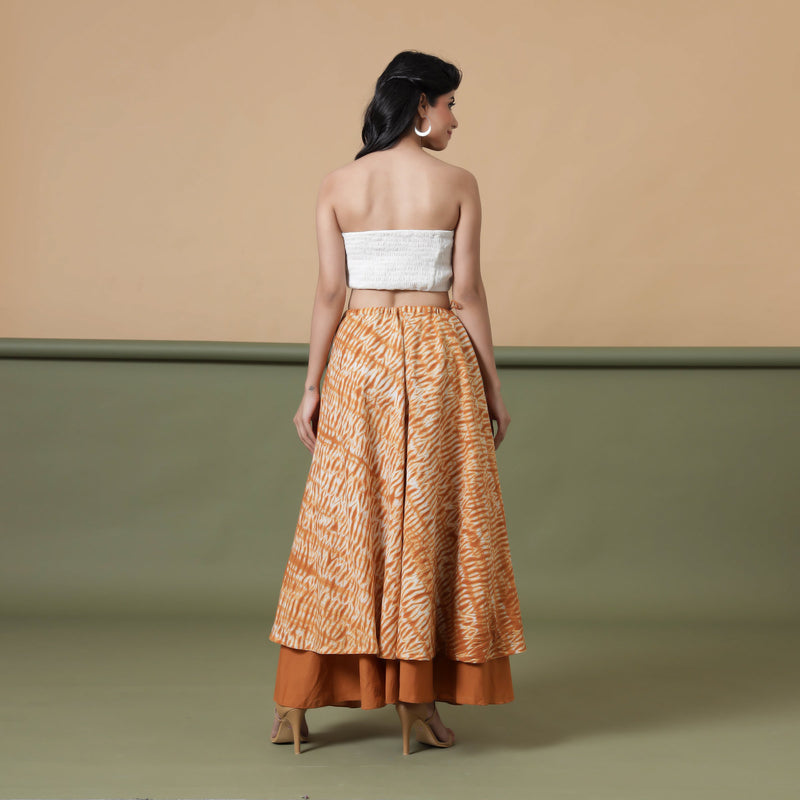 Back View of a Model wearing 6-Way Convertible Rust Sandstone Tie Dye Skirt Dress