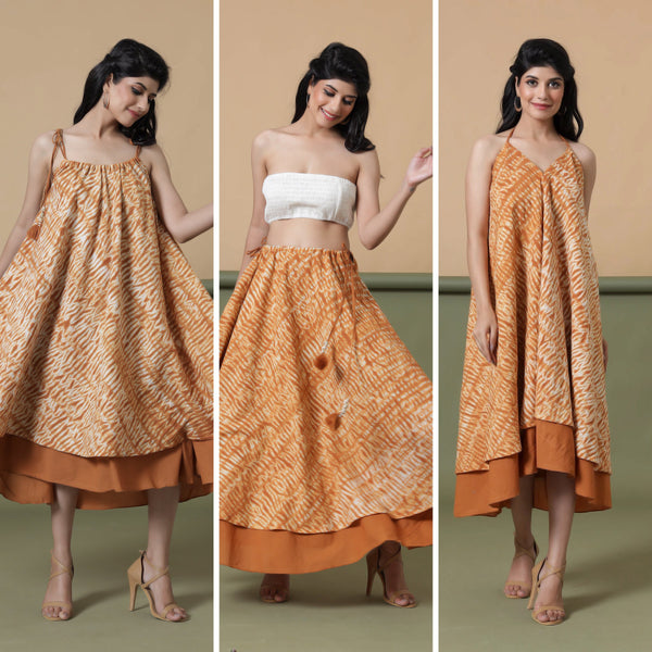 6-Way Convertible Rust Sandstone Tie Dye Skirt Dress