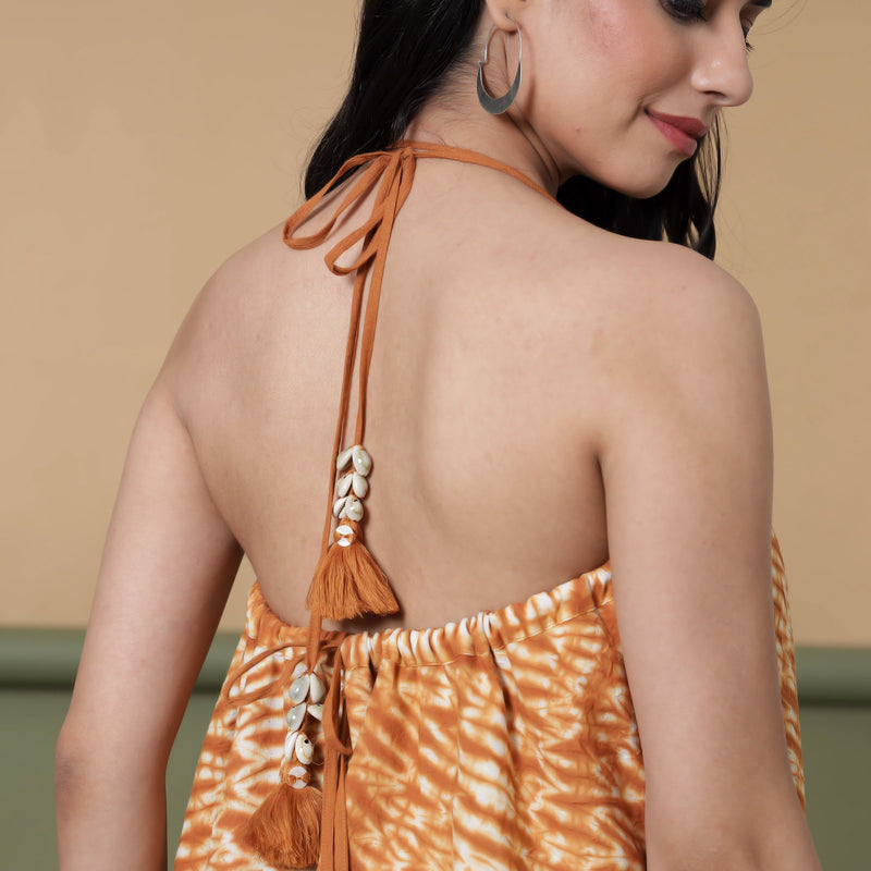 Back Detail of a Model wearing 6-Way Convertible Rust Sandstone Tie Dye Skirt Dress
