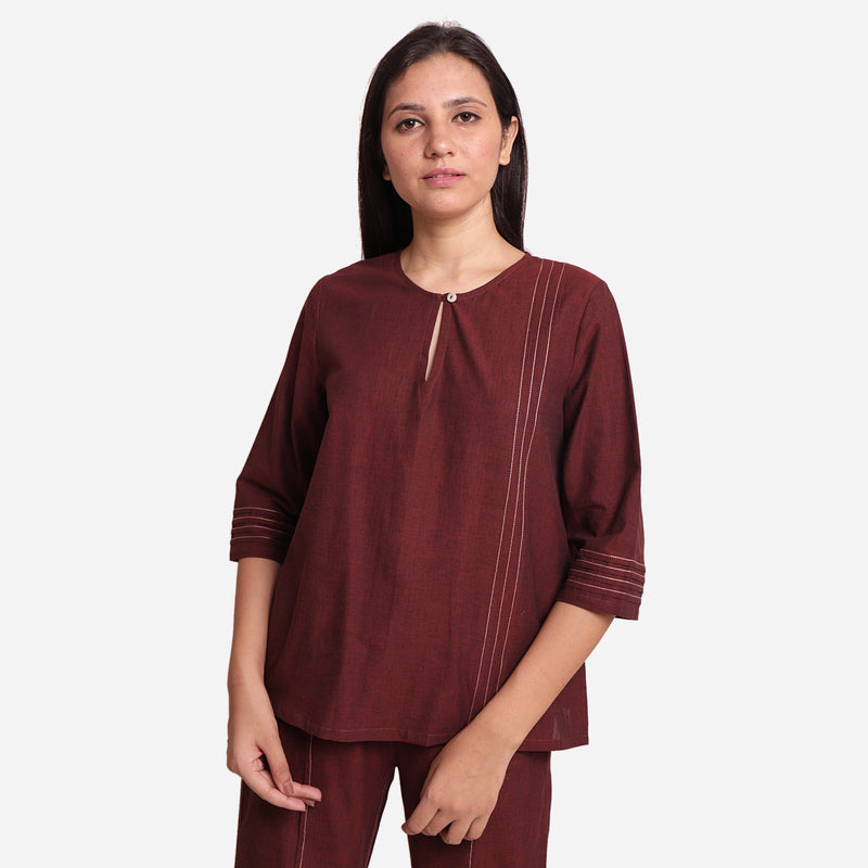 Front View of a Model wearing Brown Mangalgiri Cotton Tunic Top