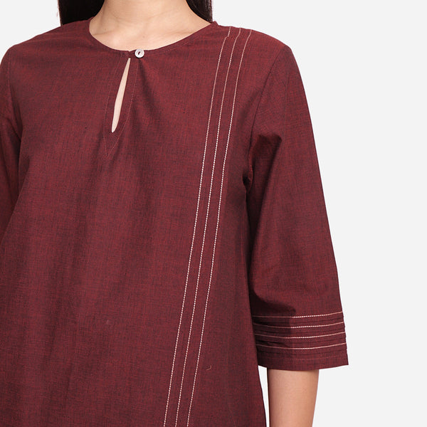 Front Detail of a Model wearing Brown Mangalgiri Cotton Tunic Top