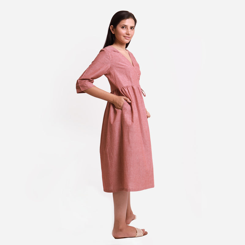 Right View of a Model wearing Solid Brown Tie Up Cotton Wrap Dress