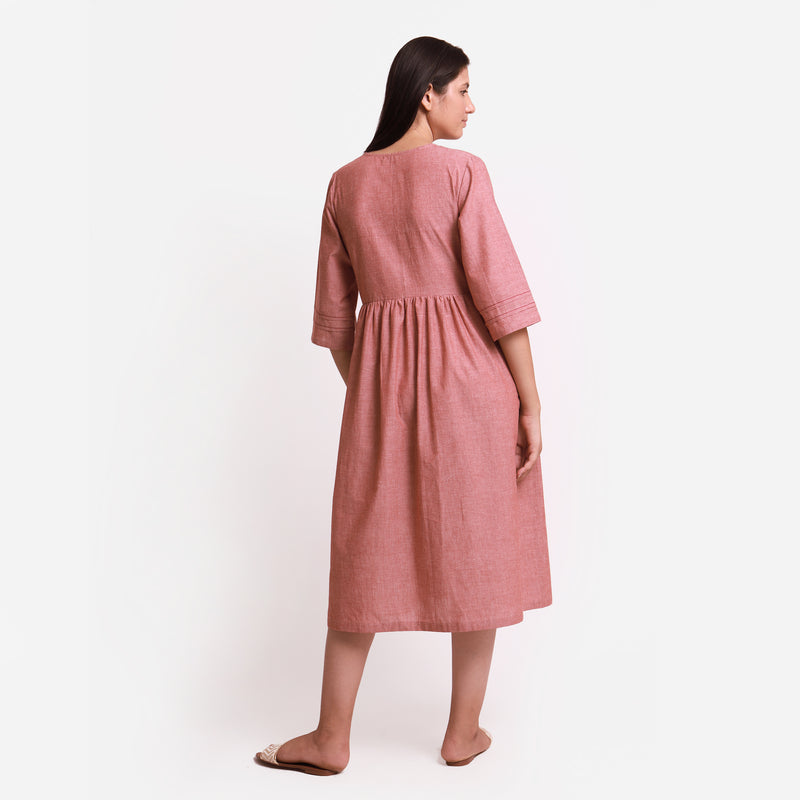 Back View of a Model wearing Solid Brown Tie Up Cotton Wrap Dress