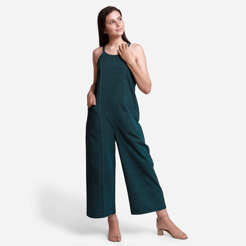 Front View of a Model wearing Mangalgiri Cotton Comfort Fit Jumpsuit