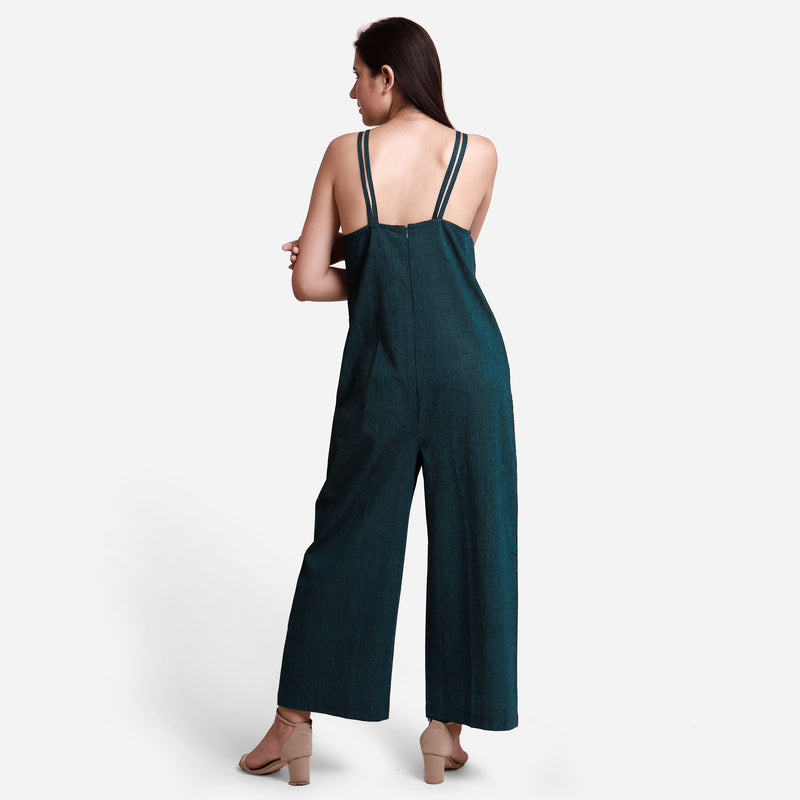 Back View of a Model wearing Mangalgiri Cotton Comfort Fit Jumpsuit