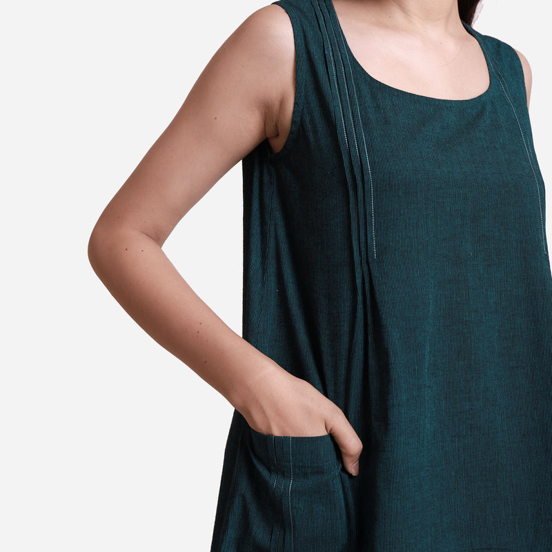 Front Detail of a Model wearing Breezy Cotton Sleeveless A-Line Dress