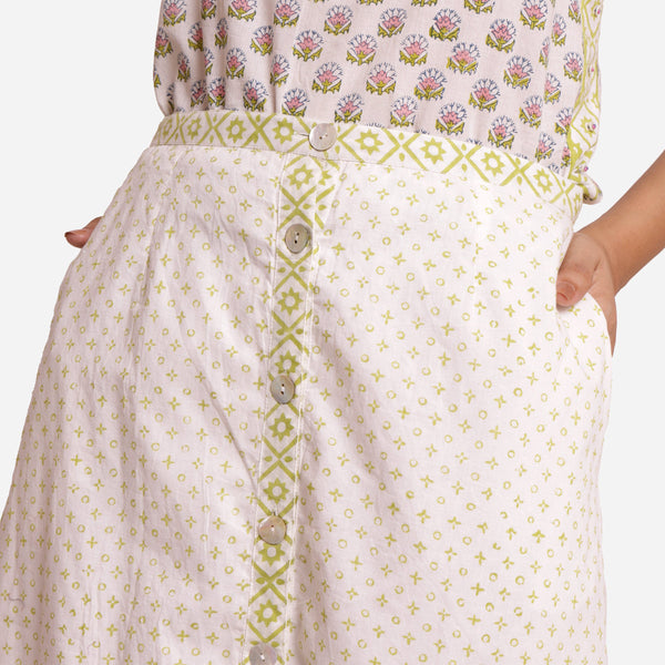 Front Detail of a Model wearing White Sanganeri Printed A-Line Skirt