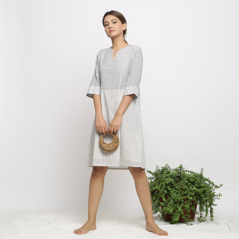 Front View of a Model wearing A-line Handspun Comfy Shift Dress