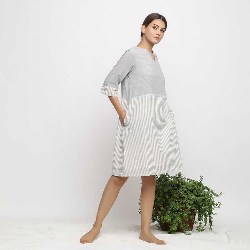 Right View of a Model wearing A-line Handspun Comfy Shift Dress