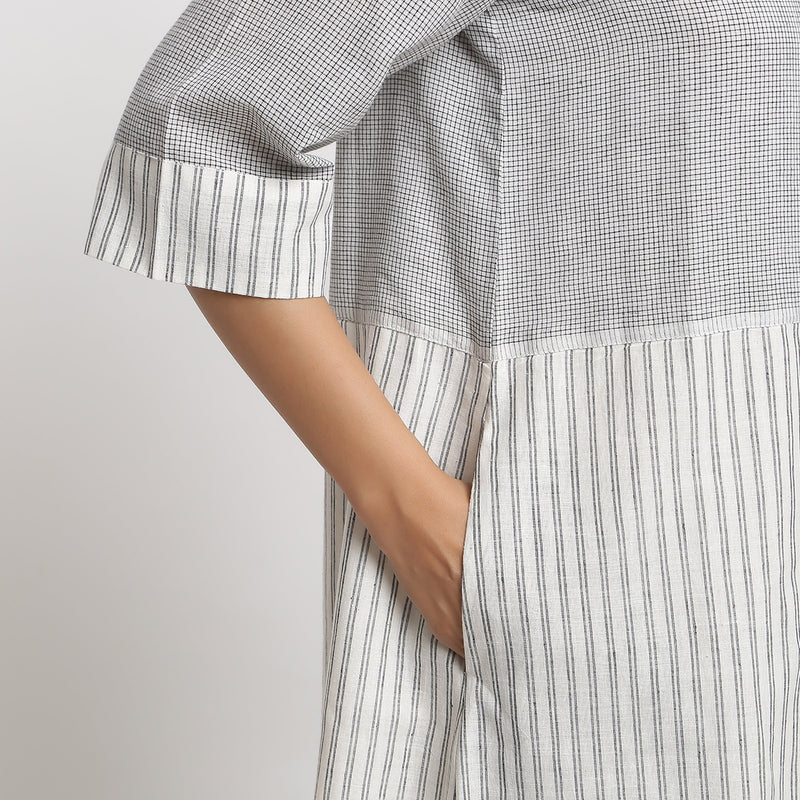 Right Detail of a Model wearing A-line Handspun Comfy Shift Dress