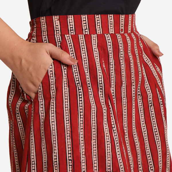 Front Detail of a Model wearing A-Line High-Rise Striped Skirt