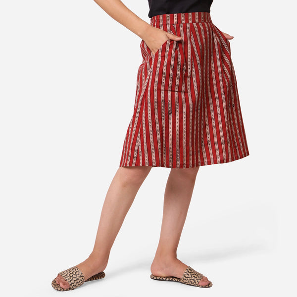 Right View of a Model wearing Hand Block Printed Cotton A-Line Skirt