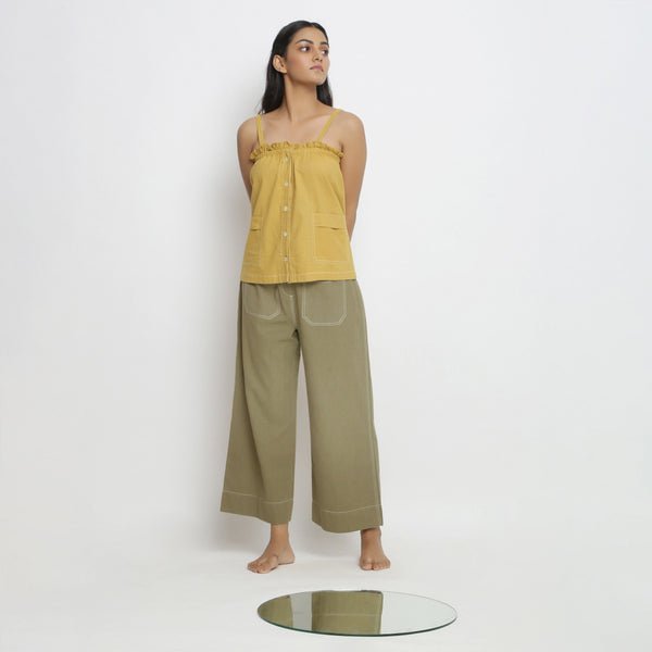 Airy Button-Down Top and Straight Pant Set