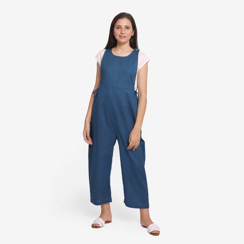 Front View of a Model wearing Airy Cotton Slub Top and Pinafore Jumpsuit Set