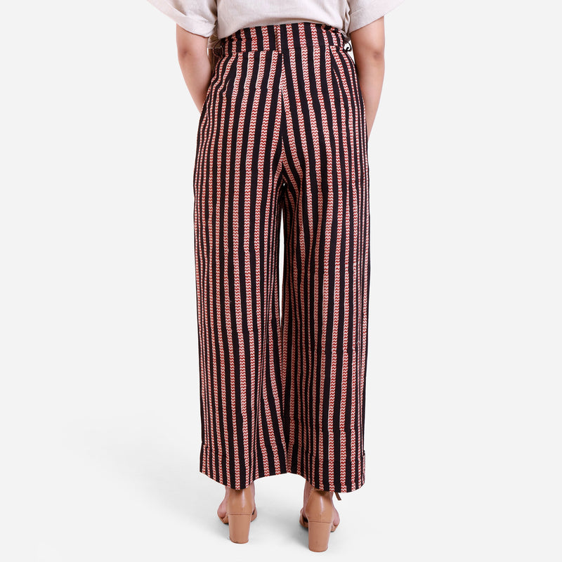 Back View of a Model wearing Striped High-Rise Baggy Cotton Pant