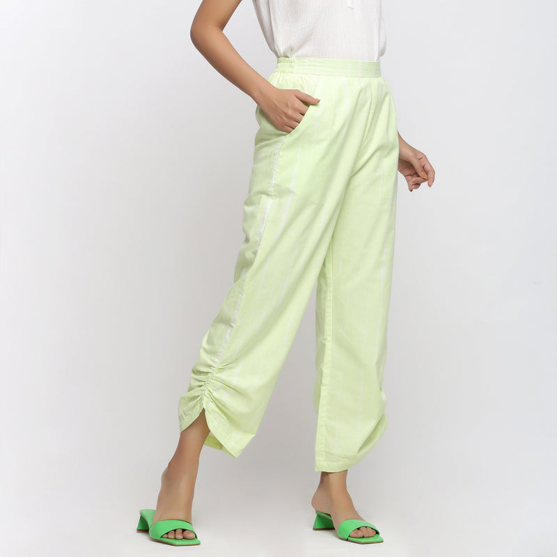 Right View of a Model Wearing Mint Green Tie Dye Straight Pant