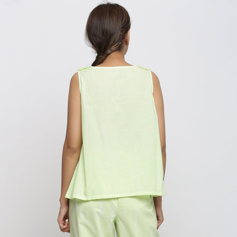 Back View of a Model Wearing Hand Tie Dye Mint Green A-Line Top