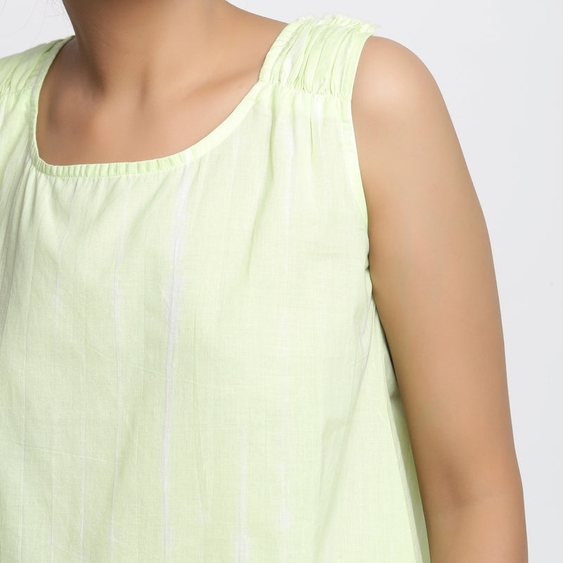 Front Detail of a Model Wearing Hand Tie Dye Mint Green A-Line Top