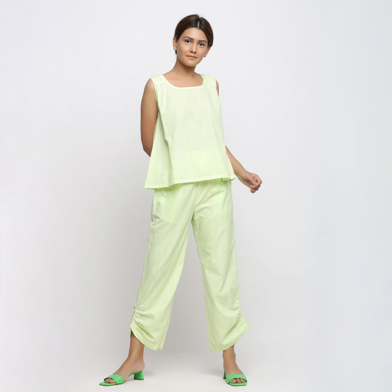Front View of a Model Wearing Mint Green Shirring Top and Straight Pant Set
