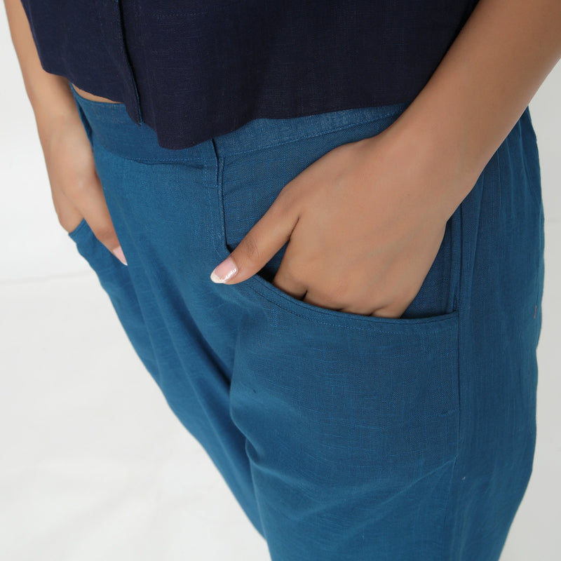 Front Detail of a Model wearing Teal Ankle Length Mid-Rise Chinos