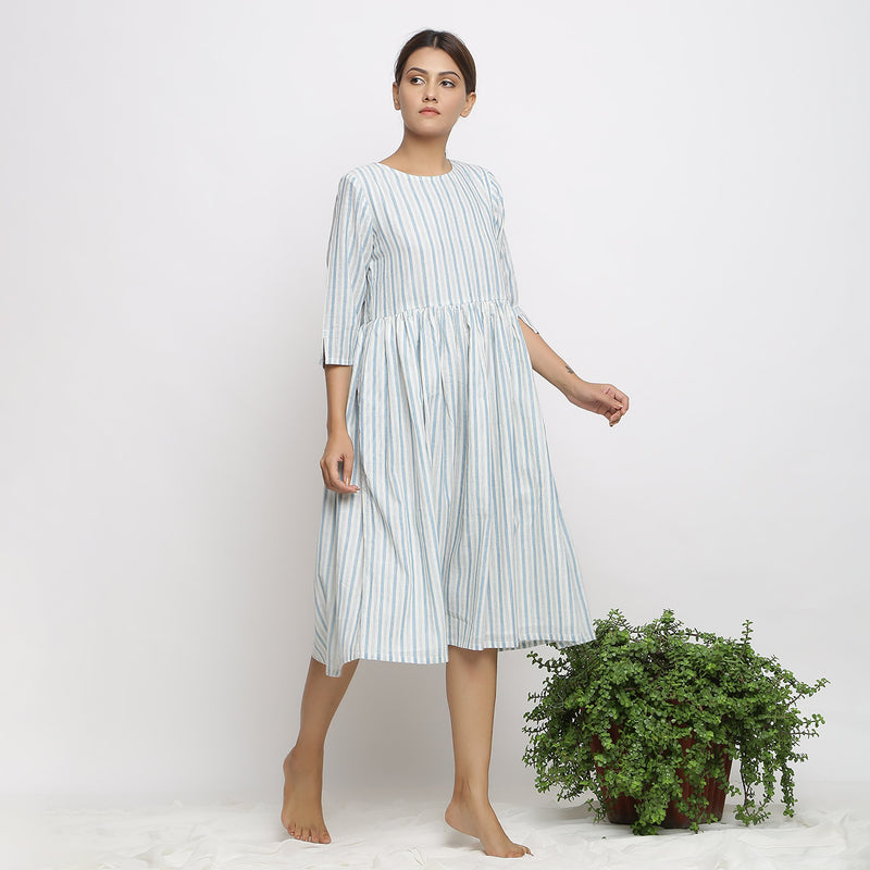 Front View of a Model wearing Airy Off-White Handspun Yoke Dress