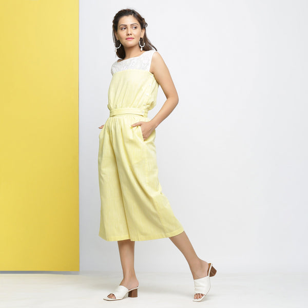 Left View of a Model wearing Sunny Yellow Crop Top and Culottes Set