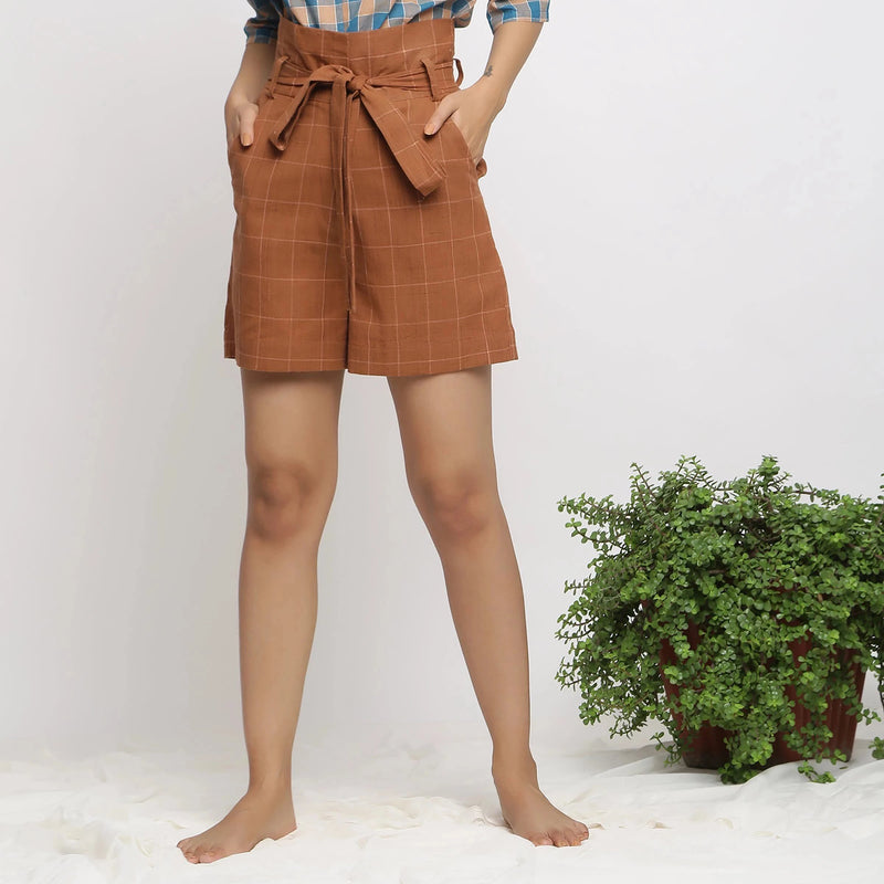 Front View of a Model wearing Almond Brown Handspun Paperbag Shorts