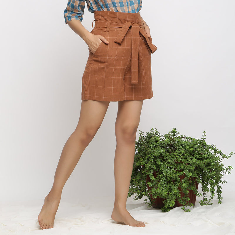 Right View of a Model wearing Almond Brown Handspun Paperbag Shorts