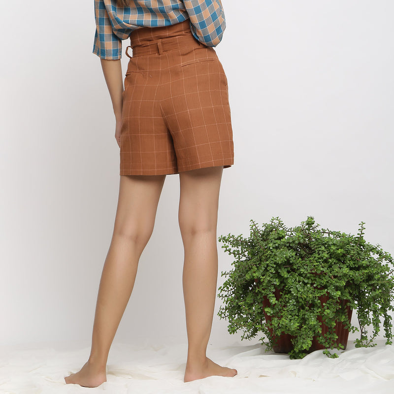 Back View of a Model wearing Almond Brown Handspun Paperbag Shorts