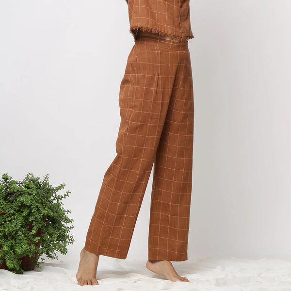 Right View of a Model wearing Almond Brown Handspun Check Pant