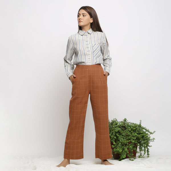 Front View of a Model wearing Almond Brown Handspun Check Pant