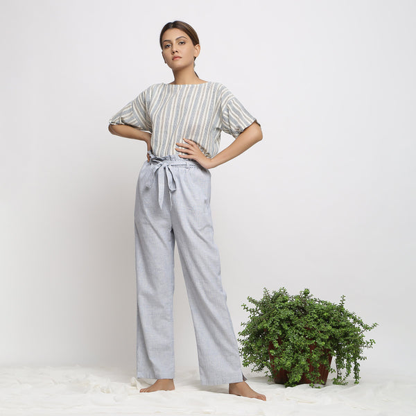 Anti-Fit Straight Top and Paperbag Pant Set