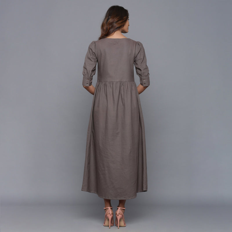 Back View of a Model wearing Ash Grey Flannel Gathered Dress