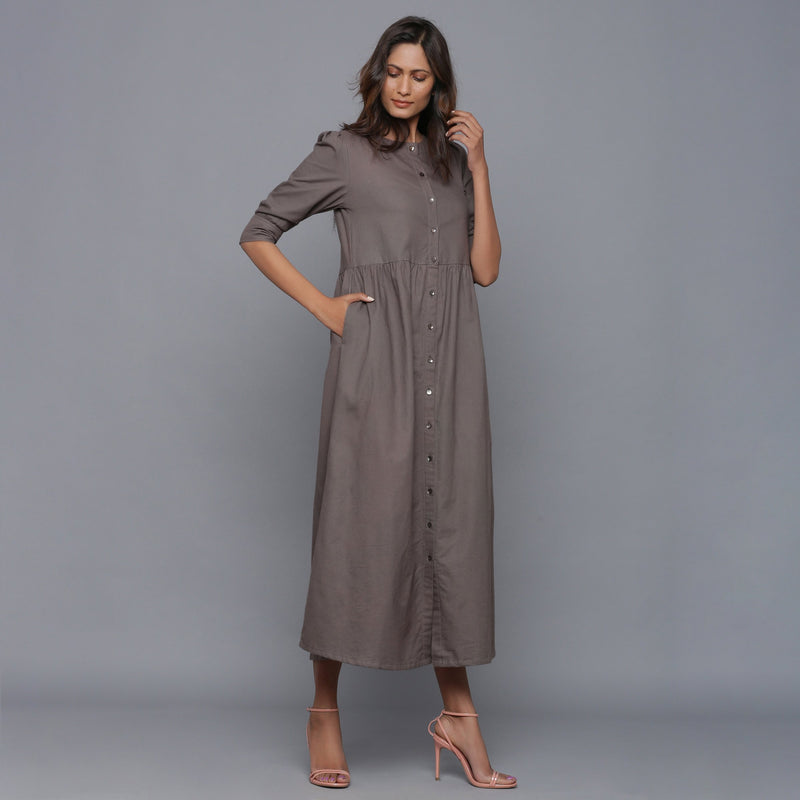 Front View of a Model wearing Ash Grey Flannel Gathered Dress