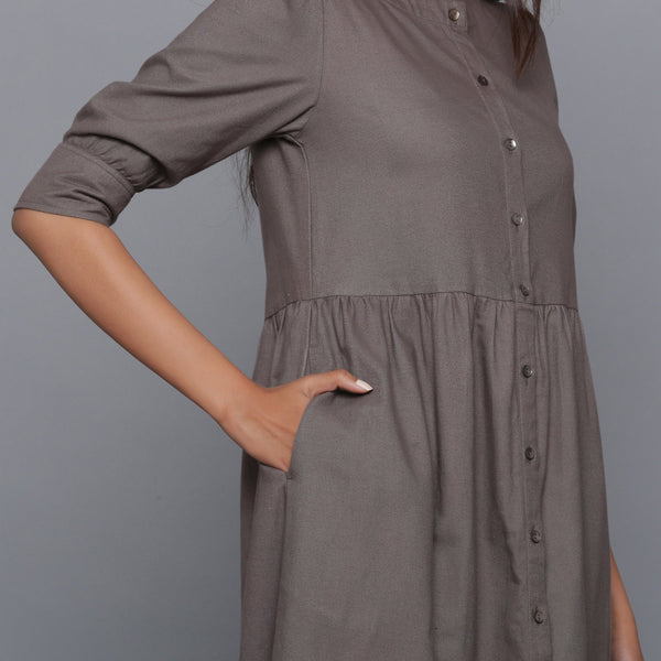 Right View of a Model wearing Ash Grey Flannel Gathered Dress