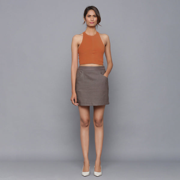 Front View of a Model wearing Ash Grey Flannel Pencil Mini Skirt