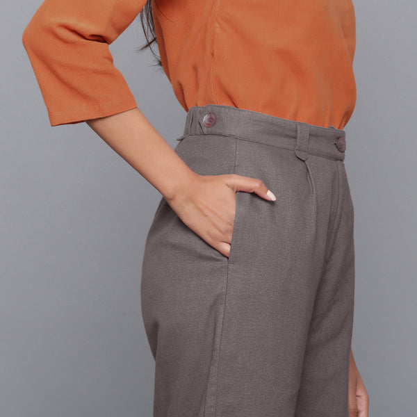 Right Detail of a Model wearing Ash Grey Flannel Rolled-Up Straight Pant