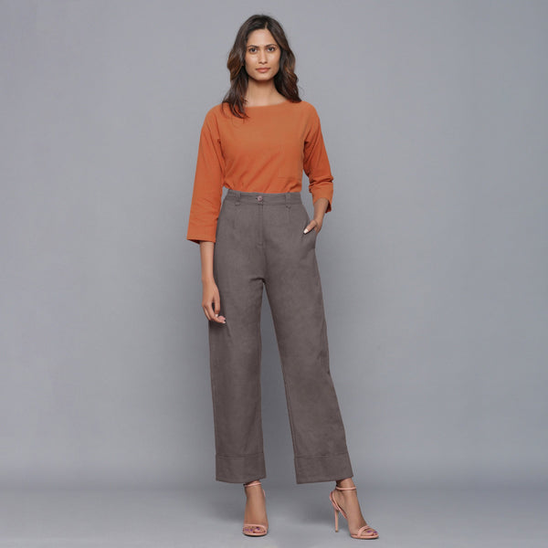 Front View of a Model wearing Ash Grey Flannel Rolled-Up Straight Pant