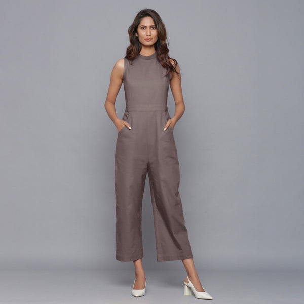 Front View of a Model wearing Ash Grey Flannel Sleeveless Jumpsuit