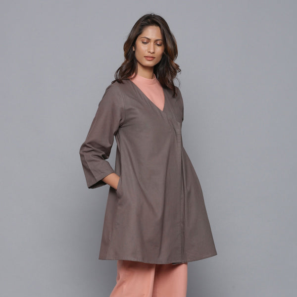 Right View of a Model wearing Ash Grey Relaxed Flannel Wrap Overlay