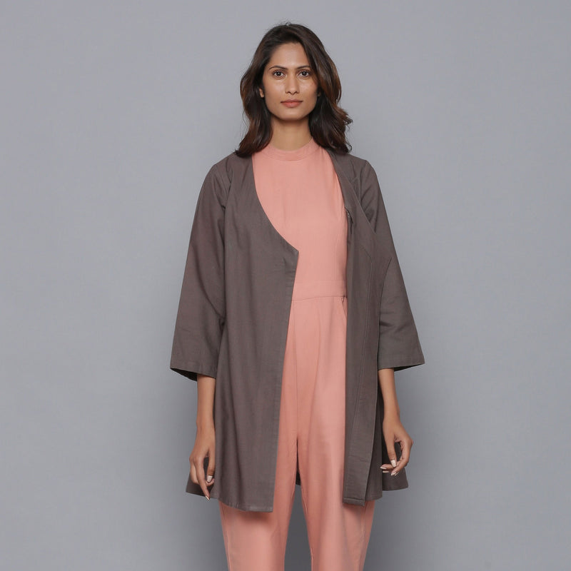 Front View of a Model wearing Ash Grey Relaxed Flannel Wrap Overlay