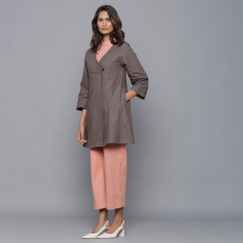 Left View of a Model wearing Ash Grey Relaxed Flannel Wrap Overlay