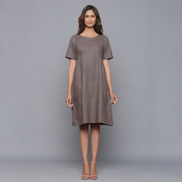 Front View of a Model wearing Ash Grey Paneled Cotton Flannel Dress