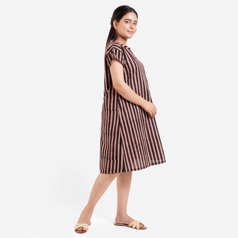 Right View of a Model wearing Bagru Striped Chevron A-Line Asymmetric Dress