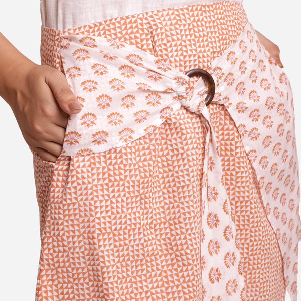 Front Detail of a Model wearing Asymmetrical A-Line Short Wrap Skirt